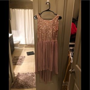 Rose gold open back party dress
